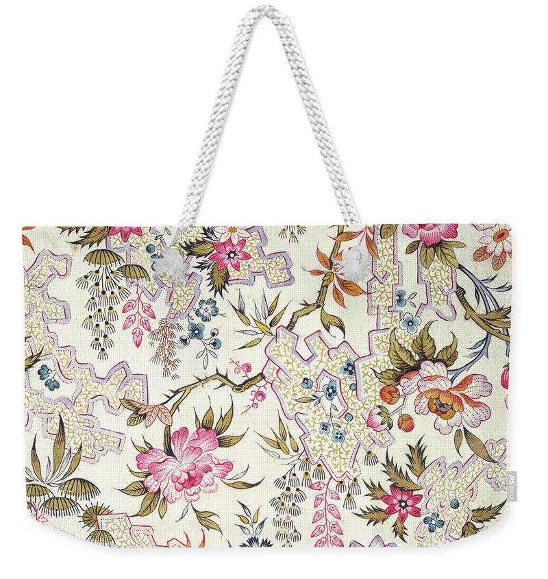 William Kilburn Weekender Tote Bag featuring the drawing Floral Design by William Kilburn