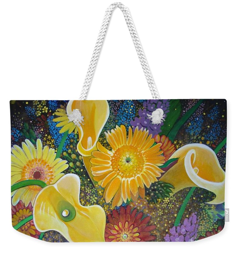 Flowers Weekender Tote Bag featuring the painting Floral Fireworks by Helena Tiainen