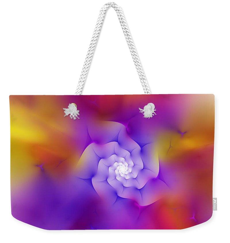 Digital Painting Weekender Tote Bag featuring the digital art Floral Fractal 052210 by David Lane