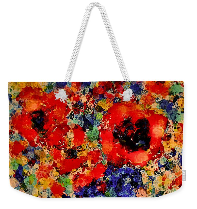 Red Flowers Weekender Tote Bag featuring the mixed media Floral Happiness by Natalie Holland