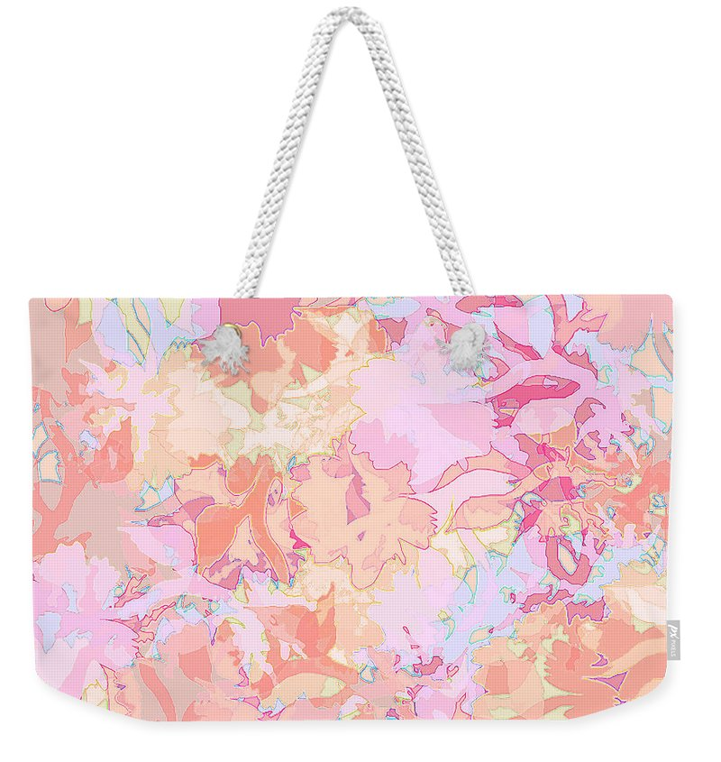 Abstract Weekender Tote Bag featuring the digital art Floral Menagerie by Rachel Christine Nowicki