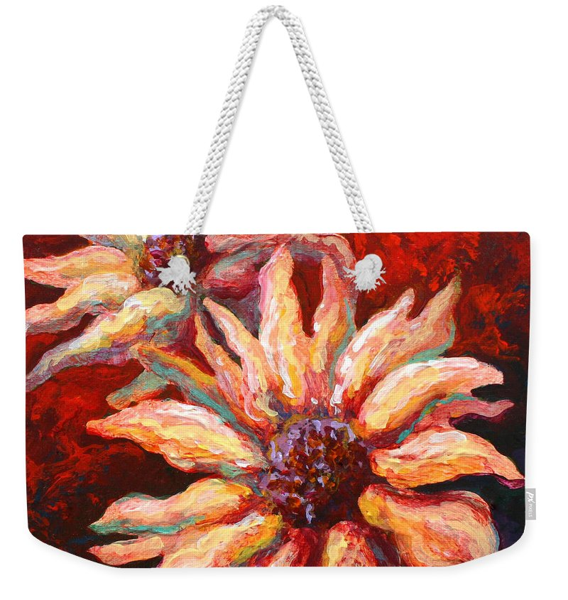 Floral Weekender Tote Bag featuring the painting Floral Mini by Marion Rose