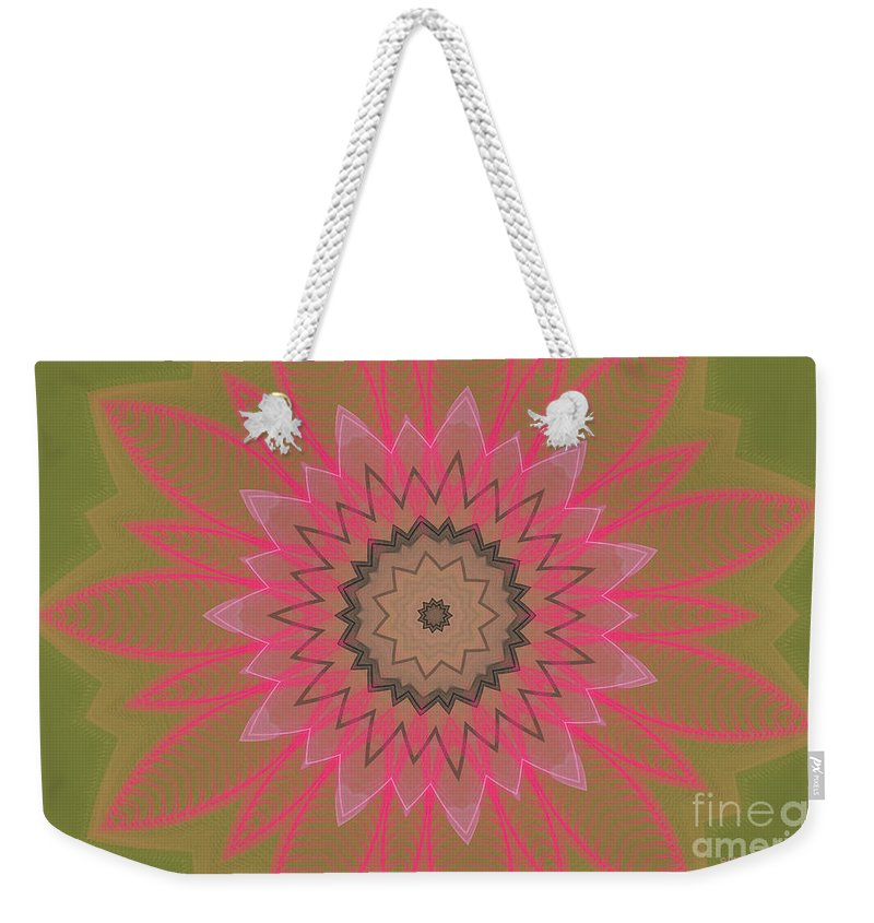 Floral Weekender Tote Bag featuring the digital art Floral Petals With Hearts by Deborah Benoit