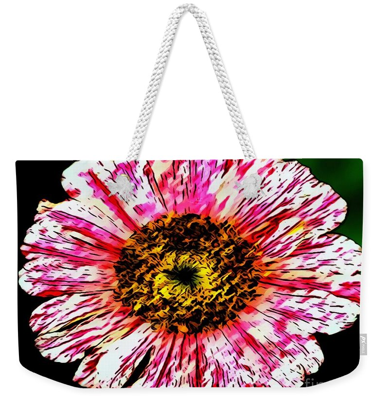 Floral Red And White Painting Weekender Tote Bag featuring the painting Floral Red And White Painting by Catherine Lott