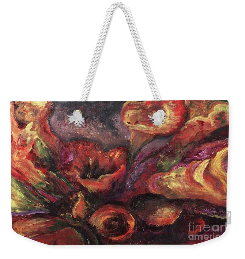 Calla Lilies Weekender Tote Bag featuring the painting Floral Sun Worship by Nadine Rippelmeyer