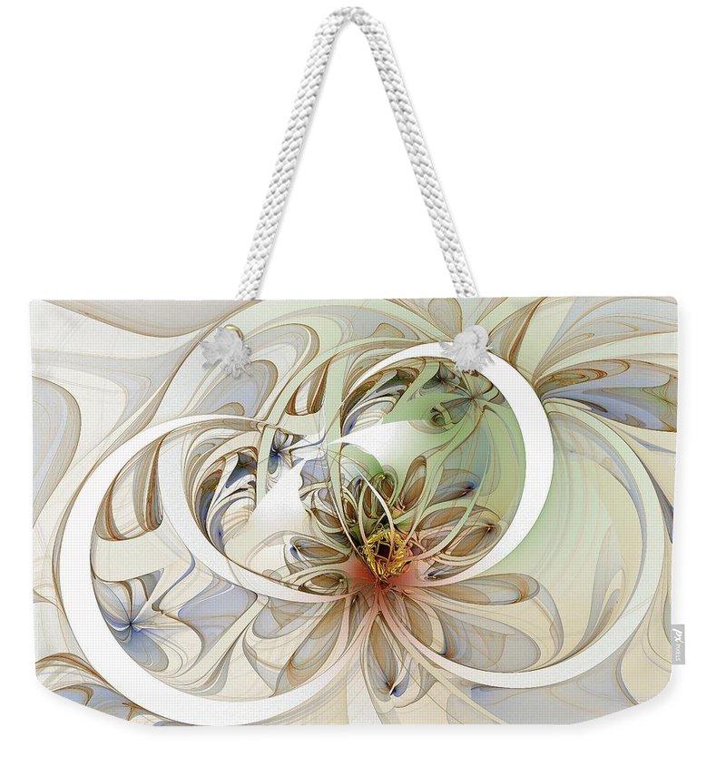 Digital Art Weekender Tote Bag featuring the digital art Floral Swirls by Amanda Moore