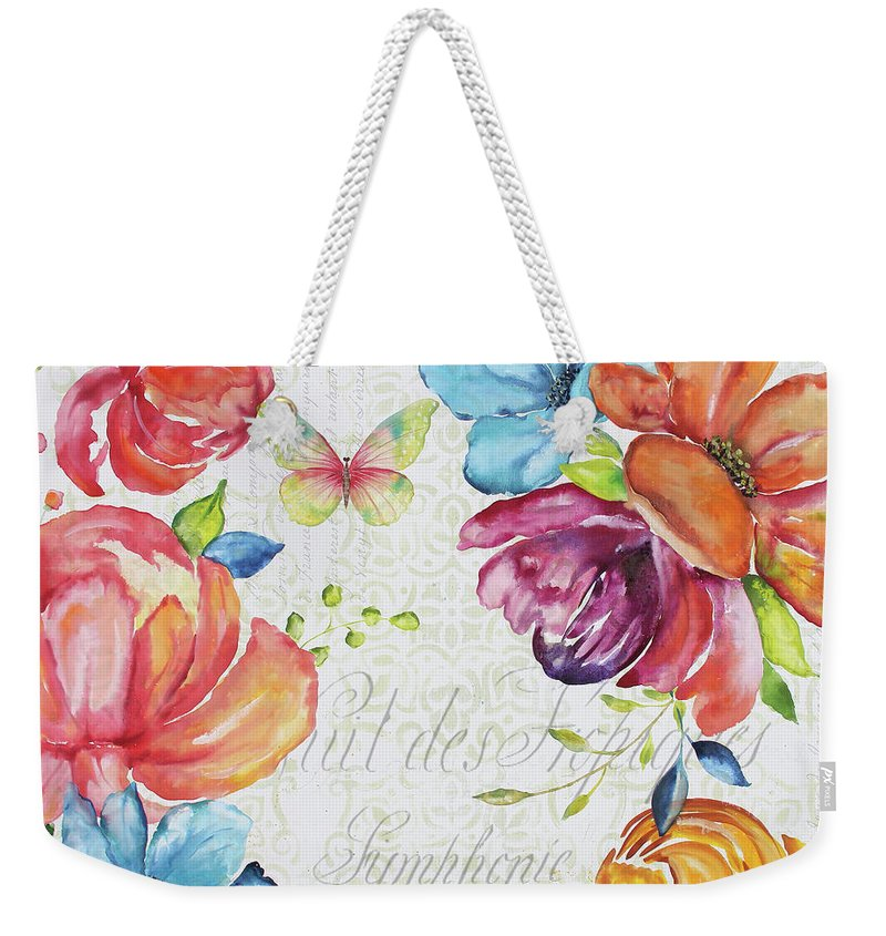 Floral Weekender Tote Bag featuring the painting Floral Symphonie by Jean Plout