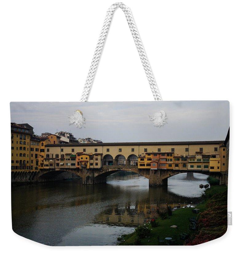 Georgia Mizuleva Weekender Tote Bag featuring the photograph Florence Italy - An Autumn Day At Ponte Vecchio by Georgia Mizuleva