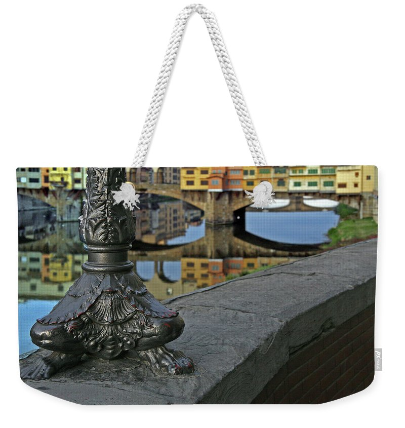 Florence Weekender Tote Bag featuring the photograph Florence The Old Bridge by Guy Ciarcia