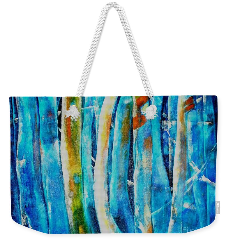 Blue Forest Weekender Tote Bag featuring the painting Floresta Azul by Fernanda Cruz