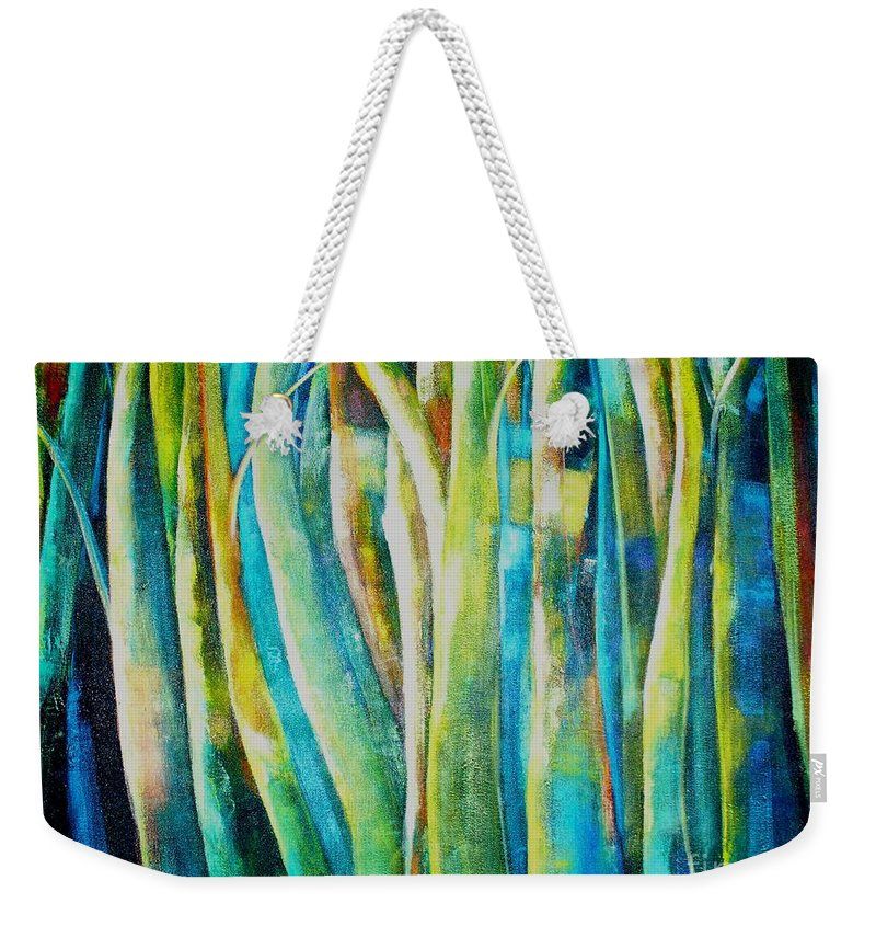 Green Forest Weekender Tote Bag featuring the painting Floresta Verde by Fernanda Cruz