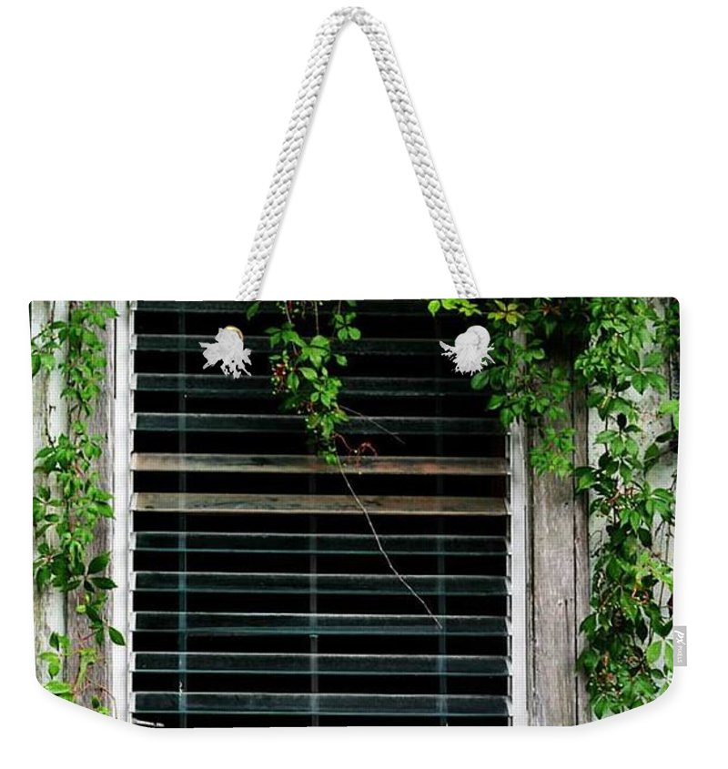 Old Window Weekender Tote Bag featuring the photograph Florida A/c by Pattie Frost