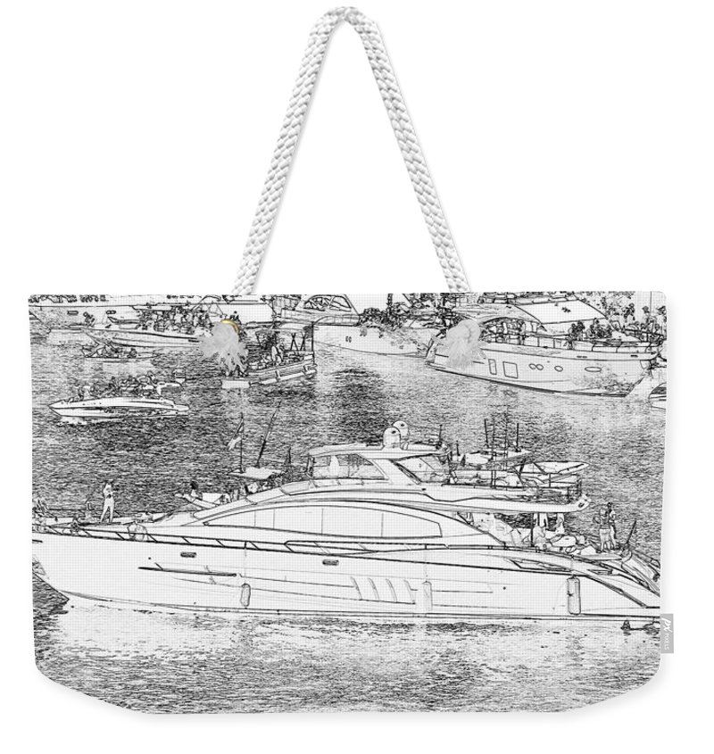 Boat Party Weekender Tote Bag featuring the painting Florida Coastal Living Work G by David Lee Thompson