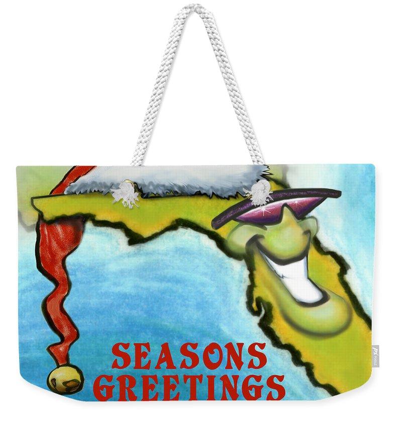 Florida Weekender Tote Bag featuring the greeting card Florida Seasons Greetings by Kevin Middleton