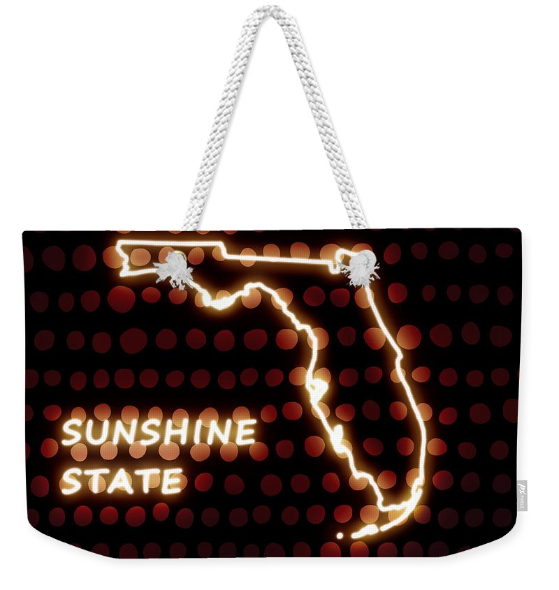 Florida Weekender Tote Bag featuring the digital art Florida - The Sunshine State by Carlos Vieira