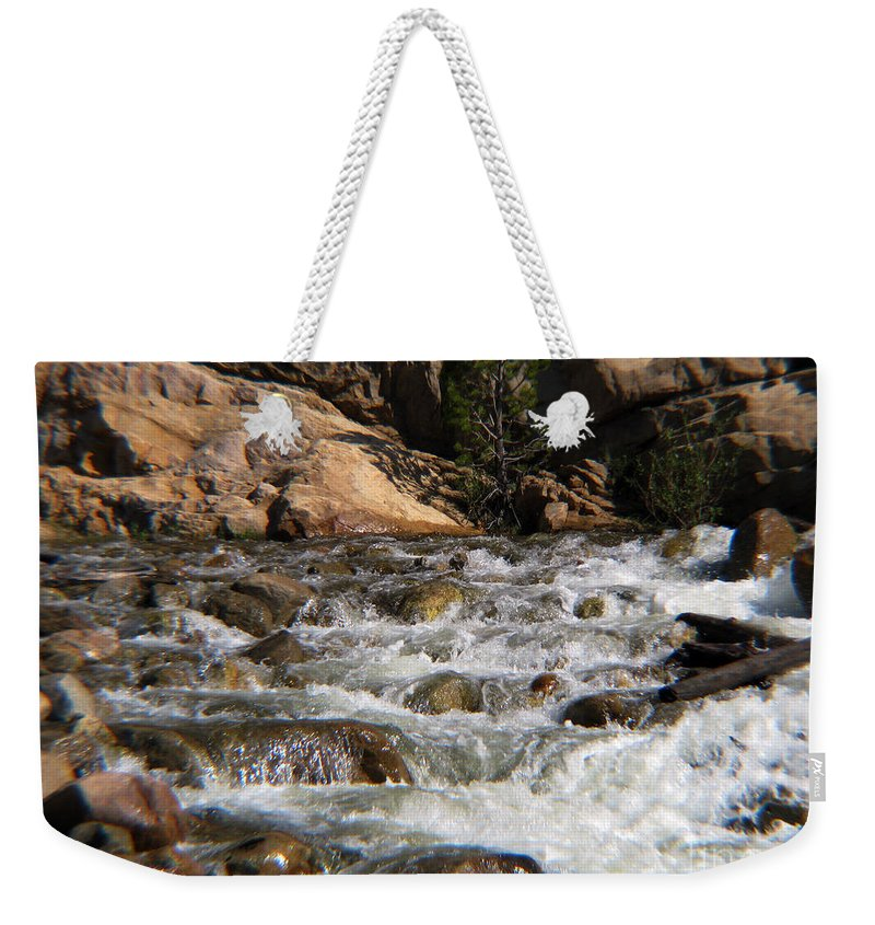 River Weekender Tote Bag featuring the photograph Flow by Amanda Barcon