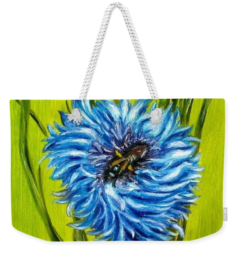 Floral Weekender Tote Bag featuring the painting Flower and Bee oil painting by Natalja Picugina