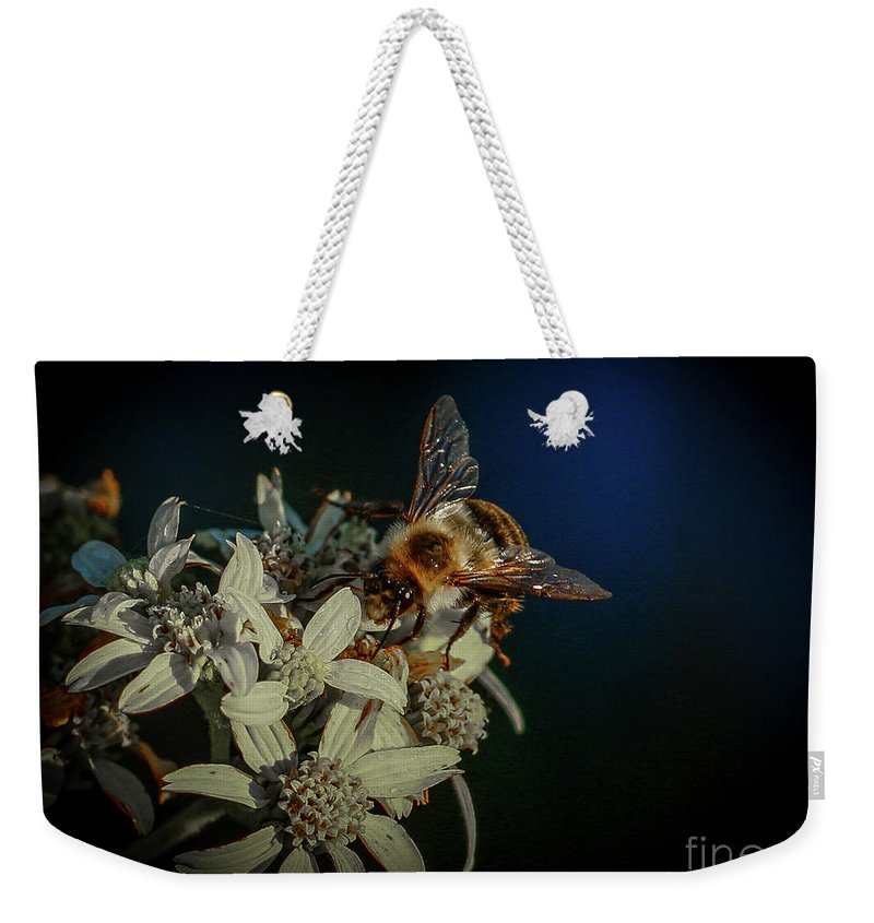 Flower Weekender Tote Bag featuring the photograph Flower And Bee by Tom Claud