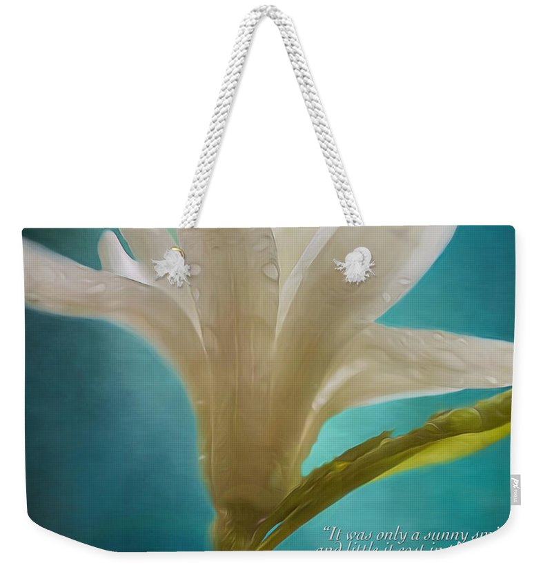 Like Morning Light Weekender Tote Bag featuring the painting Flower Art - Like Morning Light by Jordan Blackstone