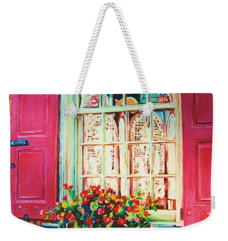 Flower Box Weekender Tote Bag featuring the painting Flower Box And Pink Shutters by Carole Spandau