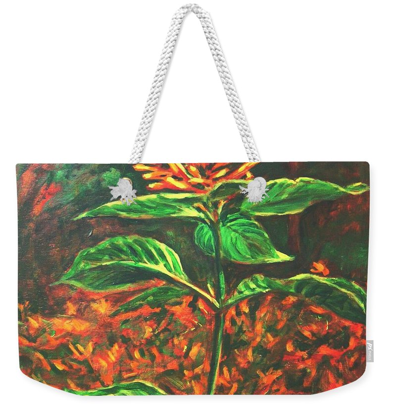 Flower Weekender Tote Bag featuring the painting Flower Branch by Usha Shantharam