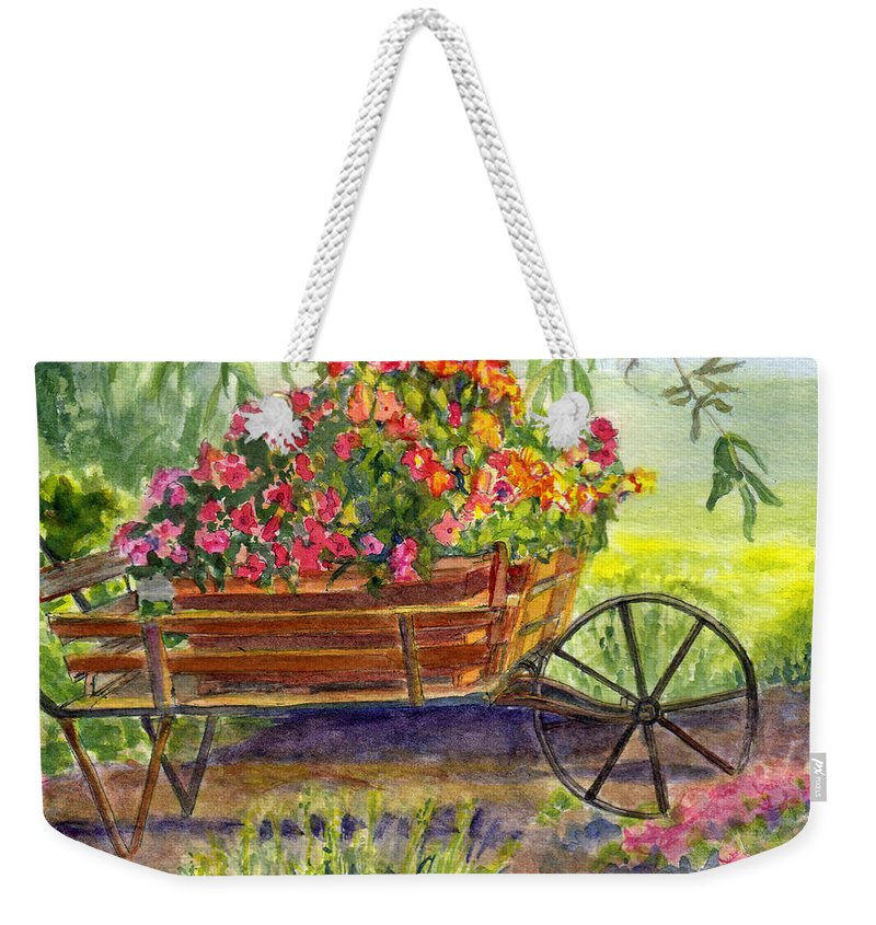 Flower Weekender Tote Bag featuring the painting Flower Cart by Katherine Berlin