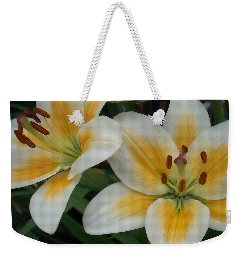 Flower Weekender Tote Bag featuring the photograph Flower Close Up 2 by Anita Burgermeister