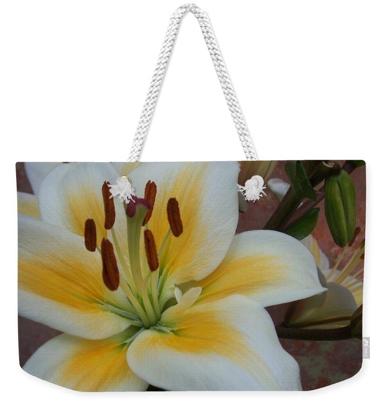 Flower Weekender Tote Bag featuring the photograph Flower Close Up 3 by Anita Burgermeister