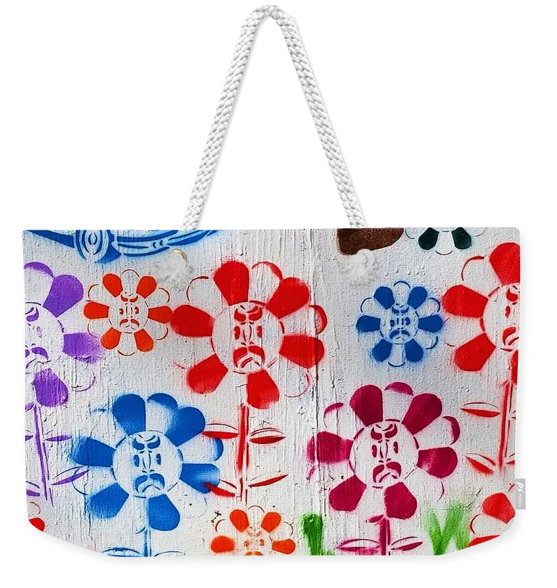 Flowers Weekender Tote Bag featuring the photograph Flower Face Murial by Rob Hans