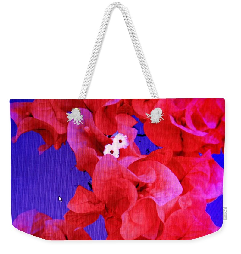 Red Weekender Tote Bag featuring the photograph Flower Fantasy by Ian MacDonald