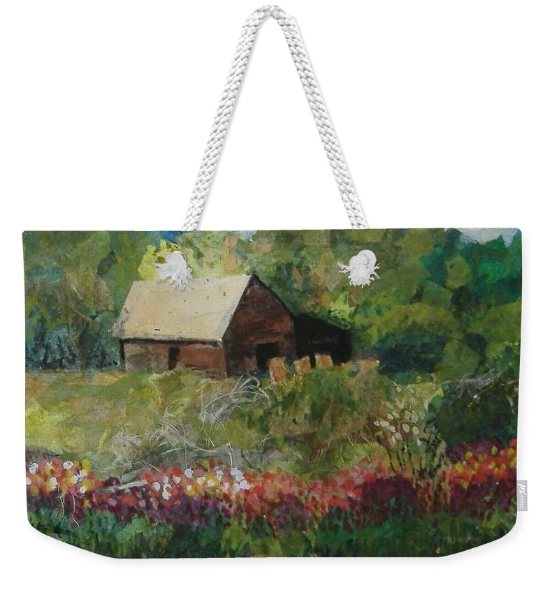 Landscape Weekender Tote Bag featuring the mixed media Flower Farm by Pat Snook