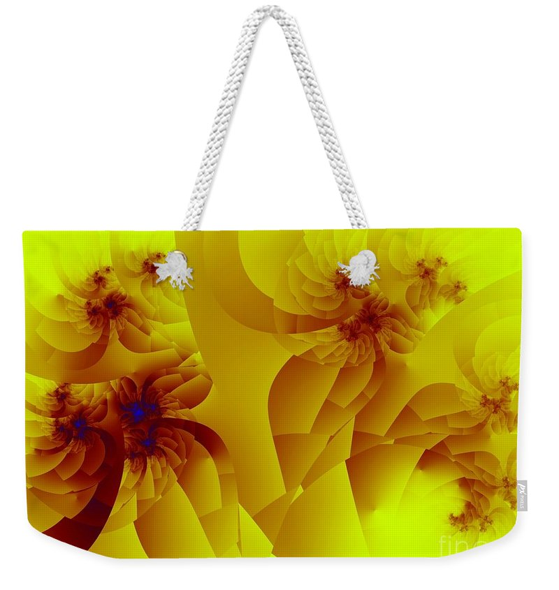 Fractal Art Weekender Tote Bag featuring the digital art Flower Formations by Ron Bissett