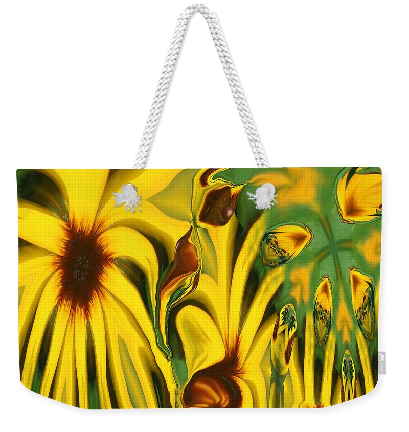 Abstract Weekender Tote Bag featuring the photograph Flower Fun by Linda Sannuti