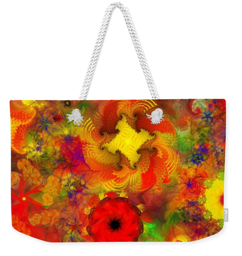 Abstract Digital Painting Weekender Tote Bag featuring the digital art Flower Garden 8-27-09 by David Lane