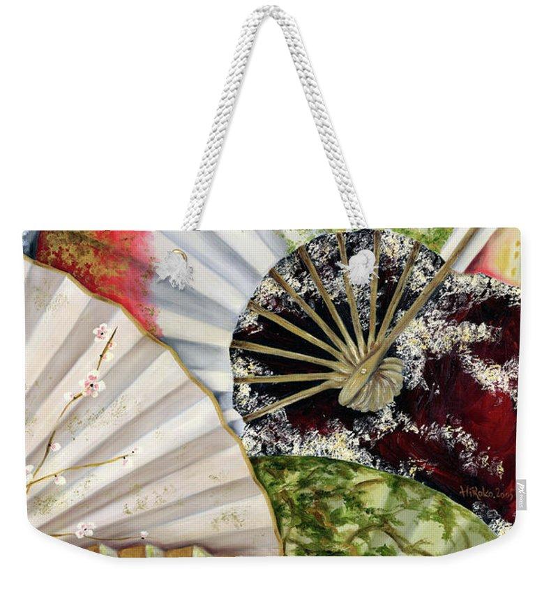 Japanese Weekender Tote Bag featuring the painting Flower Garden by Hiroko Sakai