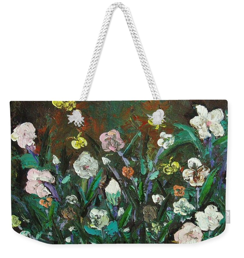 Abstract Paintings Weekender Tote Bag featuring the painting Flower Garden by Seon-Jeong Kim