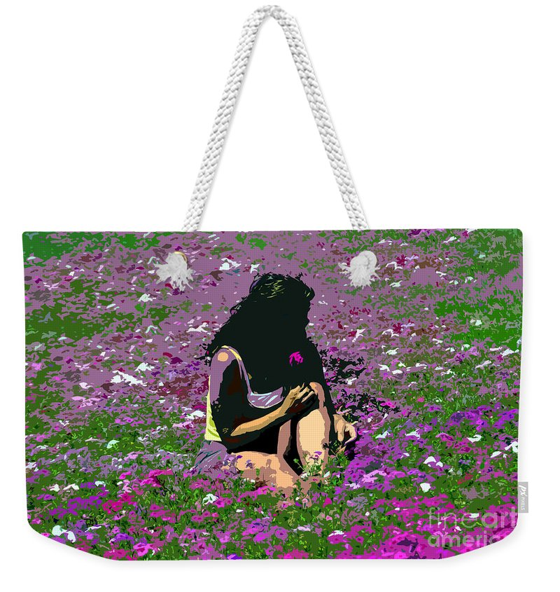Flowers Weekender Tote Bag featuring the painting Flower Girl by David Lee Thompson