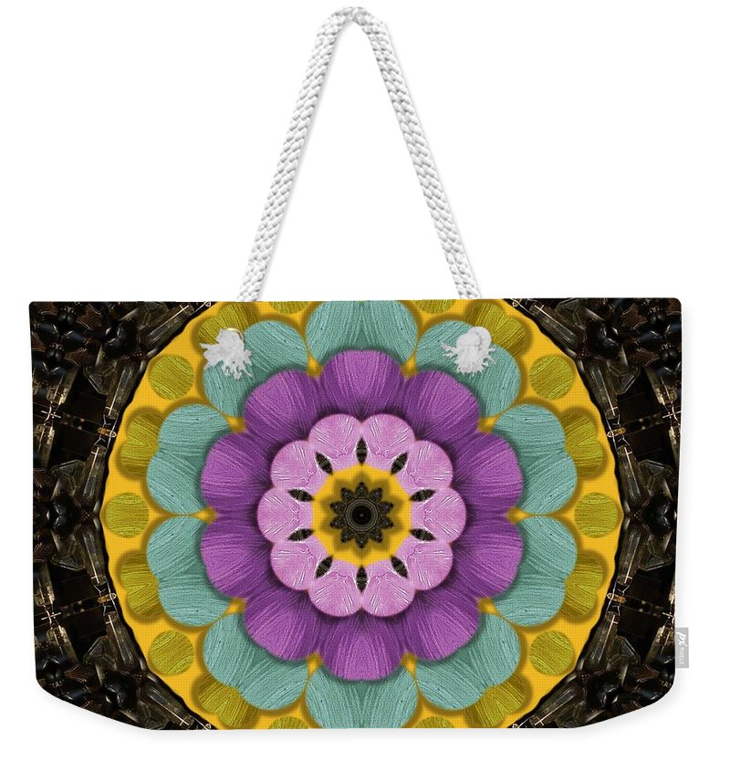 Flower Weekender Tote Bag featuring the mixed media Flower In Paradise by Pepita Selles