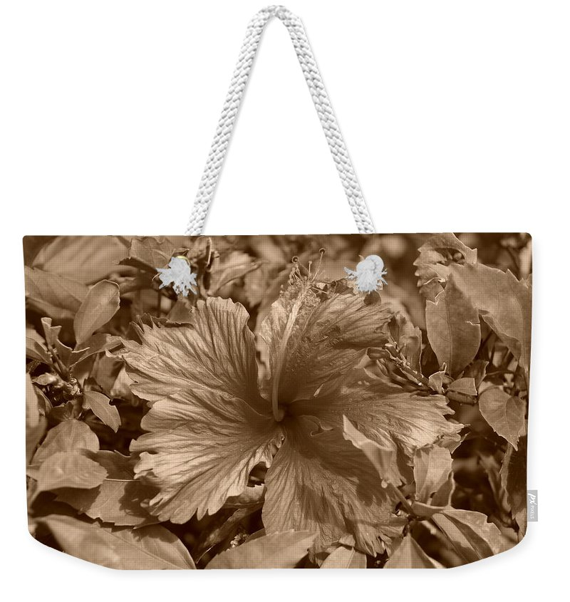 Sepia Weekender Tote Bag featuring the photograph Flower In Sepia by Rob Hans