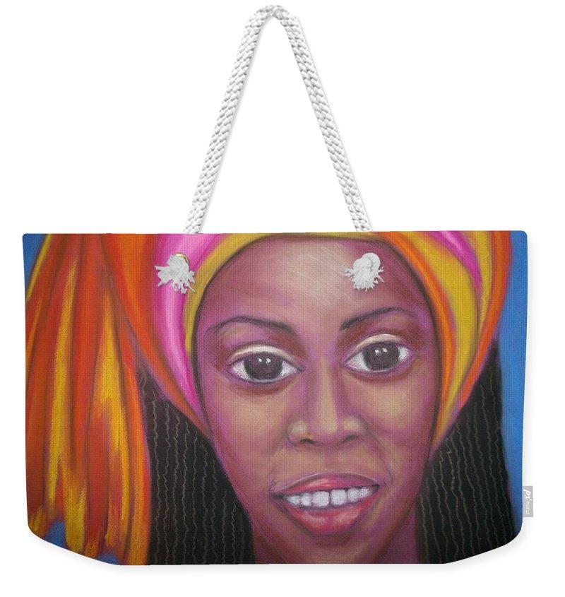 Weekender Tote Bag featuring the pastel Flower by Jan Gilmore