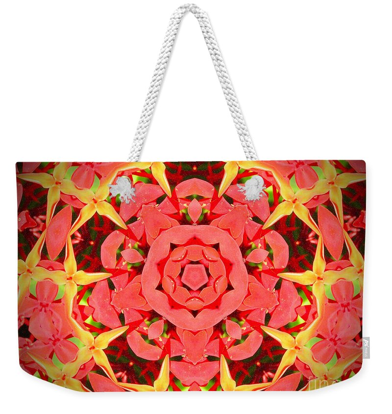 Kaleidoscope Weekender Tote Bag featuring the photograph Flower Kaleidoscope by Chad Kroll