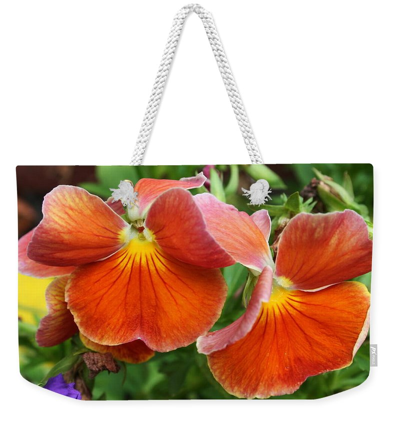 Flowers Weekender Tote Bag featuring the photograph Flower Lips by Linda Sannuti