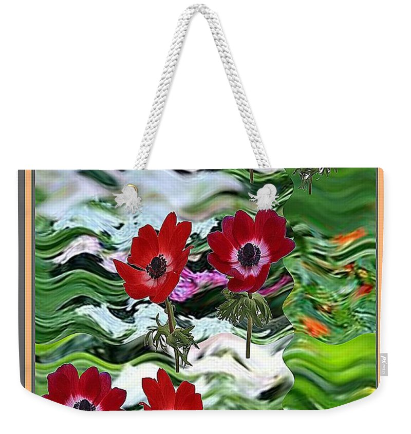 Anemone Weekender Tote Bag featuring the mixed media Flower Mania Anemone Fantasy Wave Design Created Of Garden Colors Unique Elegant Decorations by Navin Joshi