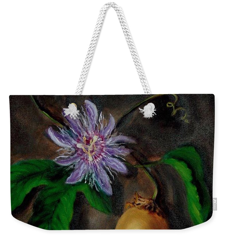 Passion Flower Weekender Tote Bag featuring the painting Flower Of Christ by Randy Burns