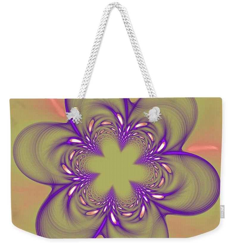 Fractal Weekender Tote Bag featuring the photograph Flower Of Pink - Purple by Deborah Benoit