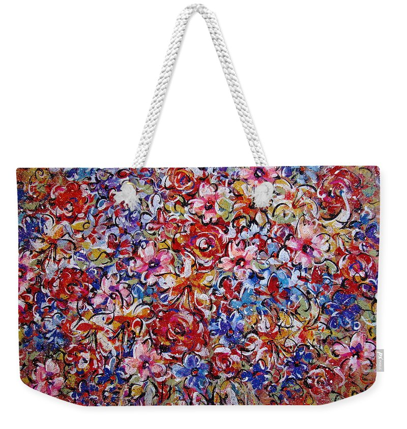 Flowers Weekender Tote Bag featuring the painting Flower Passion by Natalie Holland