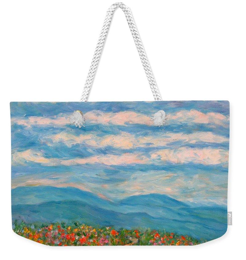 Blue Ridge Paintings Weekender Tote Bag featuring the painting Flower Path To The Blue Ridge by Kendall Kessler