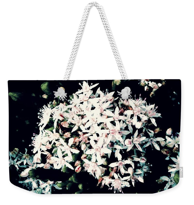 Flower White Weekender Tote Bag featuring the pyrography Flower Pattern by Steven Canizales