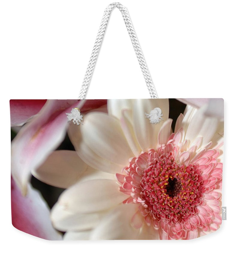 Flower Weekender Tote Bag featuring the photograph Flower Pink-white by Jill Reger