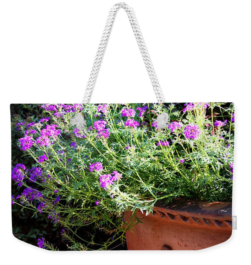 Flower Weekender Tote Bag featuring the photograph Flower Pot by Tina Meador